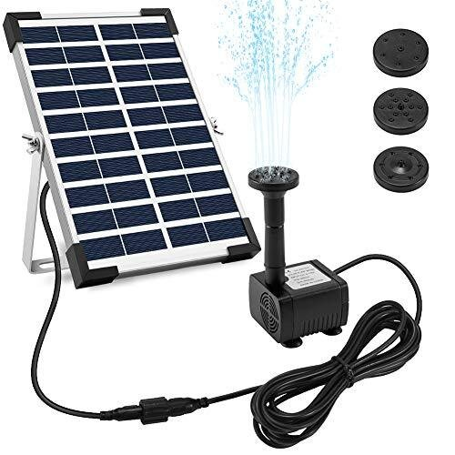 """Ankway Solar Fountain Pump 5W 128""""/3.25M Wire Length Solar Powered Water Pump for Bird Bath Pond with Stand, Submersible Outdoor Garden Fountain for"""