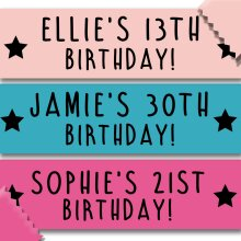 Personalised Birthday Banner - Any Name, Age or Colour