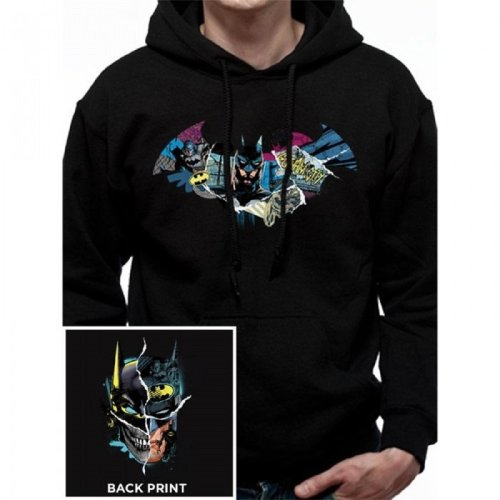 Batman Unisex Adults Pullover Hoodie With Gotham Face Design