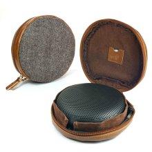 TUFF LUV Herringbone Tweed NFC Travel Case for Bang & Olufsen B&O BeoPlay A1 Bluetooth speaker - Brown