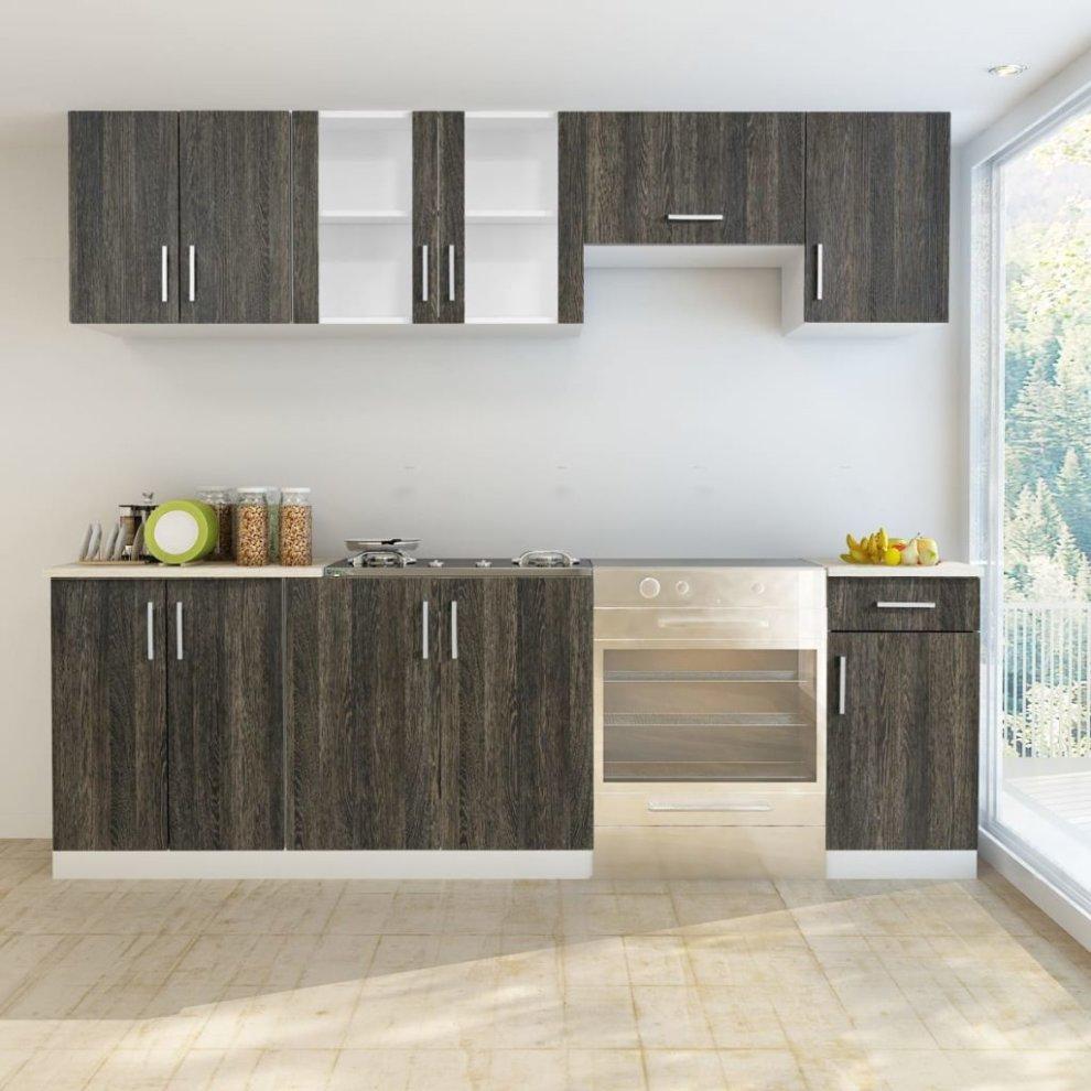 Wenge Look Kitchen Cabinet Unit 7 pcs on OnBuy