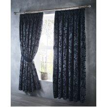 """Oak Tree Jacquard Pencil Pleat Teped Top Curtain Pair Midnight Blue 66x72"""""""