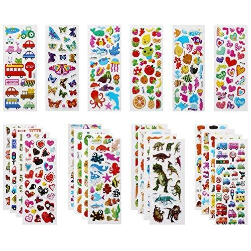 Vicloon 3D Stickers for Kids Puffy Stickers 500+ Children Stickers 22 Variety Sheets for Rewarding Gifts Scrapbooking Including Animals, Fish, Dinos