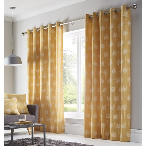 "Dandelion Fully Lined Curtains Eyelet Ring Top 90"" x 90"" 229cm Ochre Yellow New"