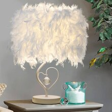 Love White Feather Table Lamp Desk Light Bedside Sitting Room
