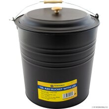 NEW 12L METAL ASH BUCKET WITH LID WOODEN HANDLE FIREPLACE 12LITRE COAL