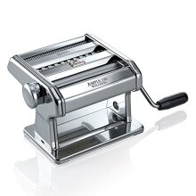 Marcato 8356 Atlas Ampia Pasta Machine Made In Italy Chrome Plated Steel Silver Includes Pasta Cutter Hand Crank & Instructions