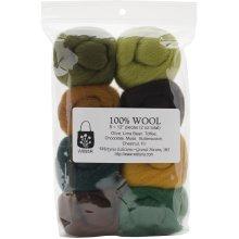 "Wistyria Editions Wool Roving 12"" .25oz 8/Pkg-Woodsy"