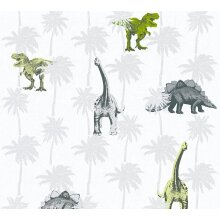 Kids Dinosaur Wallpaper Childrens Bedroom Dinos Grey White Green Paste The Wall