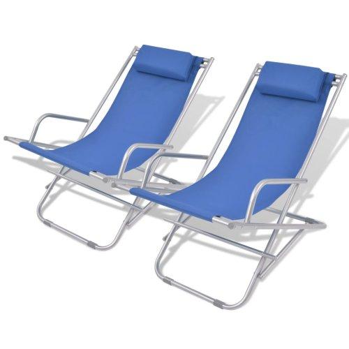vidaXL 2x Reclining Deck Chairs Blue Steel Outdoor Sunloungers Swing Chairs