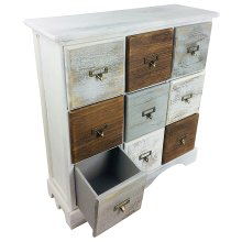Wood Cabinet 9 Drawers Solid Wood Storage Rustic Distress Finish 64cm