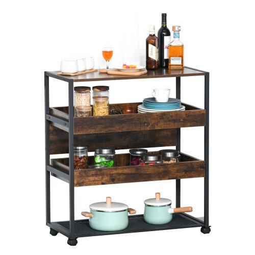 HOMCOM 4-Tier Mobile Kitchen Storage Cart w/ Wheels Kitchen & Dining Room