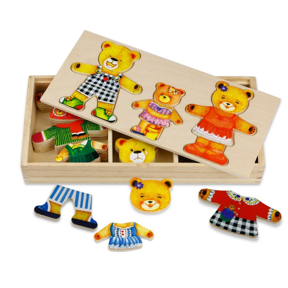TONZE Wooden Bear Family Dress-Up Puzzle with Storage Case ...