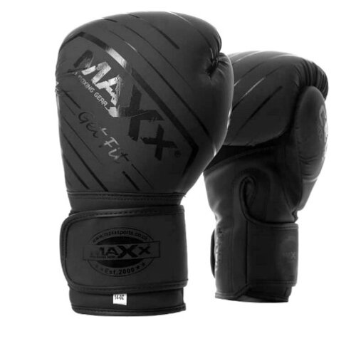 (6oz) Maxx® New Full Black Leather Boxing Gloves MMA Training Fight Sparring Boxing Glove