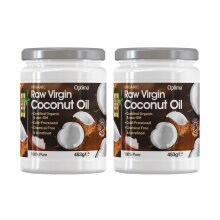 Optima Organic Raw Virgin Coconut Oil - 2 x 453g (2 x 500ml) Twin Pack
