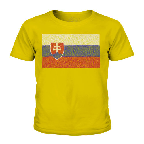 (Gold, 9-10 Years) Candymix - Slovakia Scribble Flag - Unisex Kid's T-Shirt