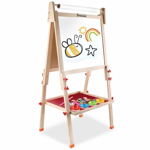 Arkmiido wooden art easel for kids,kids easel with paper roll,Height Adjustable Wooden Easel,Whiteboard Chalkboard,4 in 1, for 3 4 5 6 7 8 9 10...