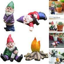 4PCS Naughty Gnome Statue Dwarf Garden Decor