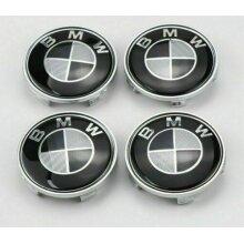 BMW Black Carbon Style Alloy Wheel Center Caps 68mm 1 3 5 7 E F M X x4