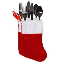 Christmas Tableware - 2 Pack Red Velour Cutlery Holders - Stocking