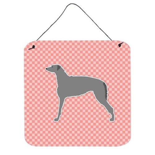 Scottish Deerhound Checkerboard Pink Wall or Door Hanging Prints