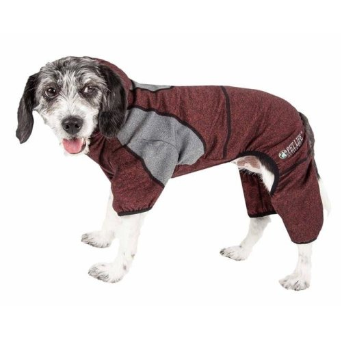 Pet Life YGHL5BUSM Active Fur-Breeze Heathered Performance 4-Way Stretch Two-Toned Full Bodied Hoodie - Burgundy, Small