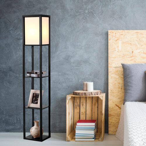 (Black) Three-layer shelf floor lamp storage living room