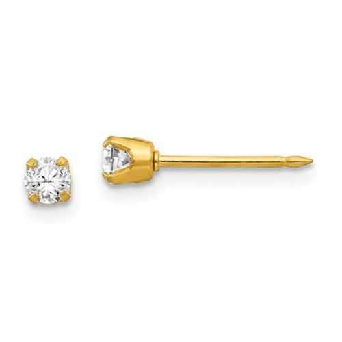 Inverness 7E 14K Gold 3 mm CZ Earrings