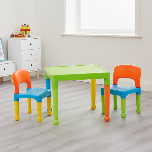 Kids Mulitcoloured Plastic Table and 2 Chairs
