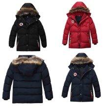 Boy Winter Padded Parka Jacket Fur Hooded Coat