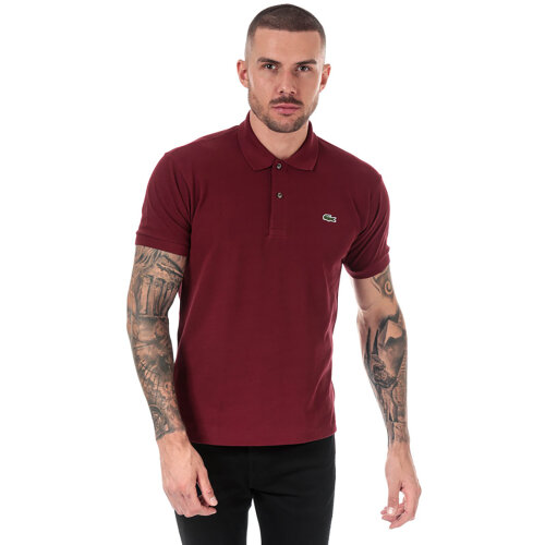 (M) Lacoste Men's Maroon Short Sleeve Polo Shirt