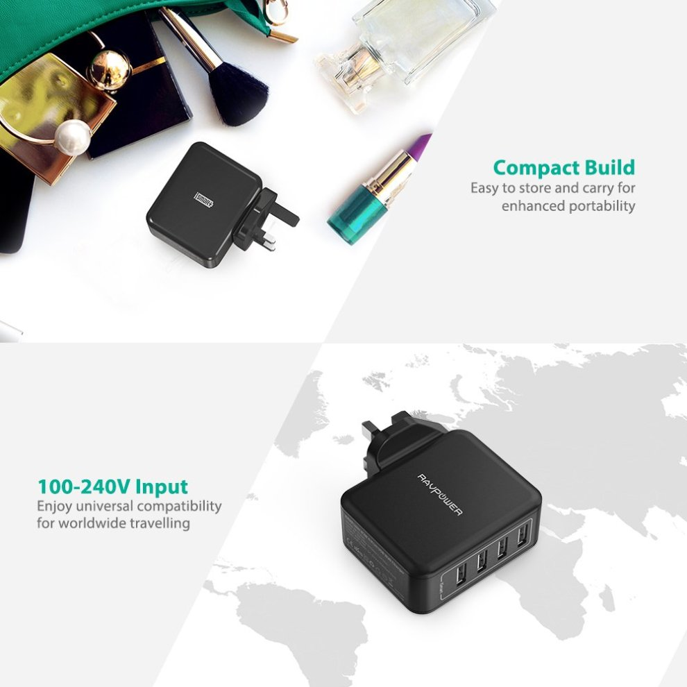 USB Charger Plug RAVPower 4 port Travel