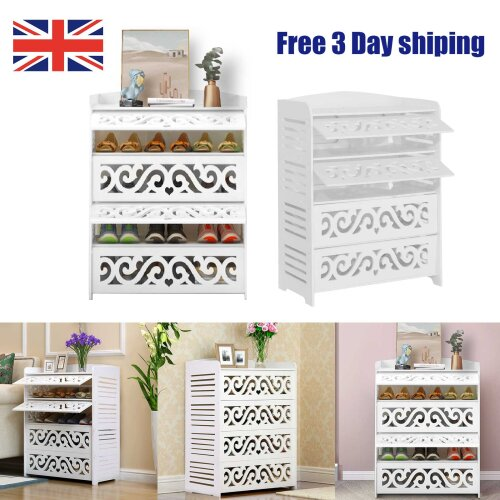 4 Shelves Shoe Cabinet Storage Cupboard Footwear Stand Rack Wooden Unit White