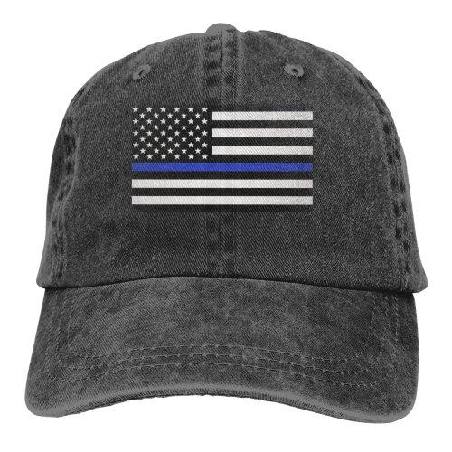 Thin Blue Line Flag Denim Baseball Caps