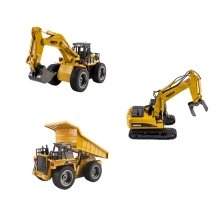 deAO 2.4Ghz Remote Control 6 Channel Full Functional Excavator Digger with Lights & Sounds Included