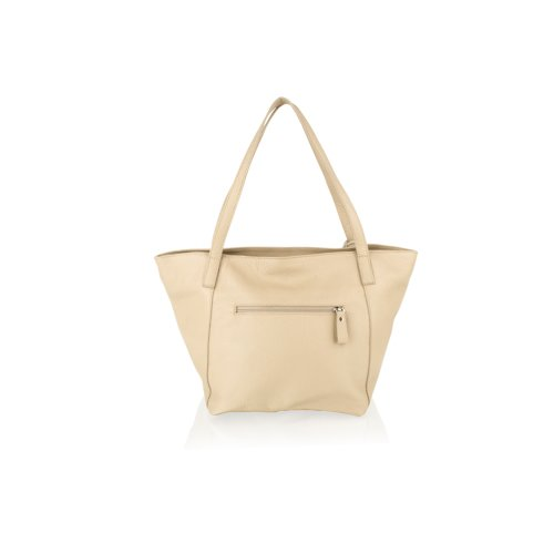 """Woodland Leather Taupe Tote Shopping Bag 20.0"""" Central Zip Carry Handle"""