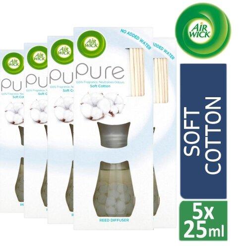 5 x Air Wick Reed Diffuser Air Freshener Pure Soft Cotton 25ml