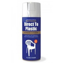 Rust-Oleum AE0030001E8 Direct To Plastic White Gloss Spray Paint 400ml