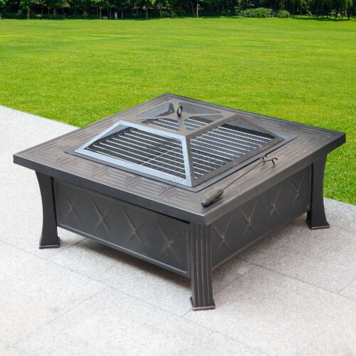 HEATSURE Outdoor Multifunctional Fire Pit Garden BBQ Brazier Square Patio Heater