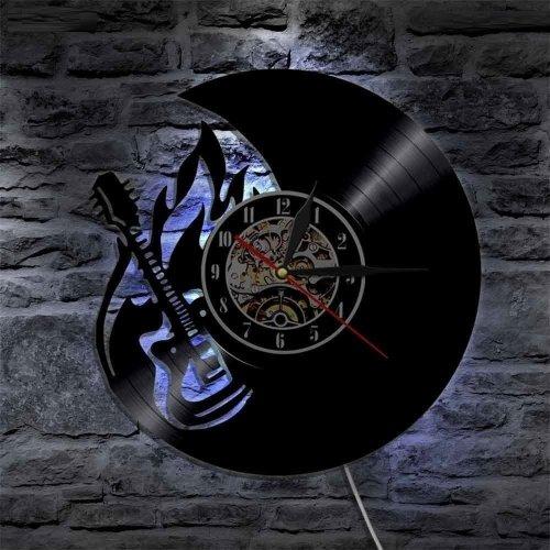 Music Art Guitar LED Vinyl Home Art Wall Clock