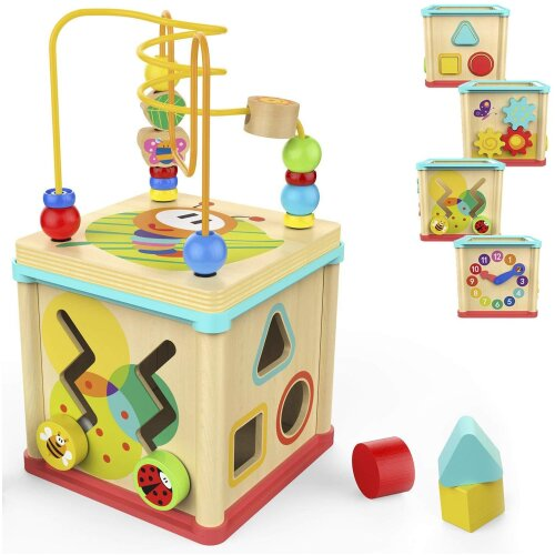 Milly & Ted Kids' Wooden 5-in-1 Activity Cube
