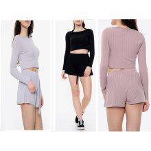 Trending Clothing RangeTop Quality Women Ribbed Round Neck Long Sleeve