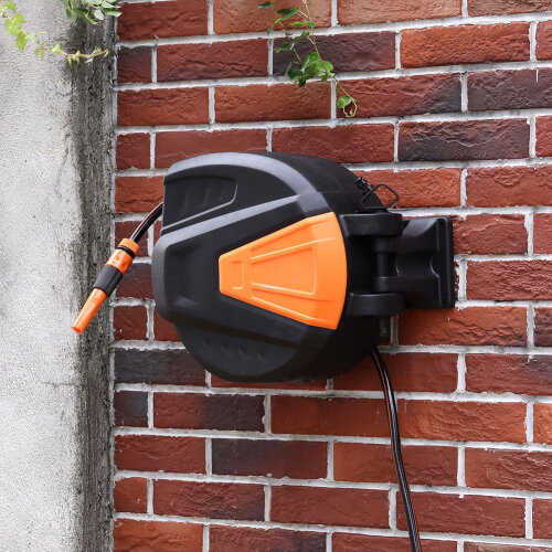 (20M) Wall Mounted Retractable Garden Hose Auto Rewind Reel Fixings Spray Pipe