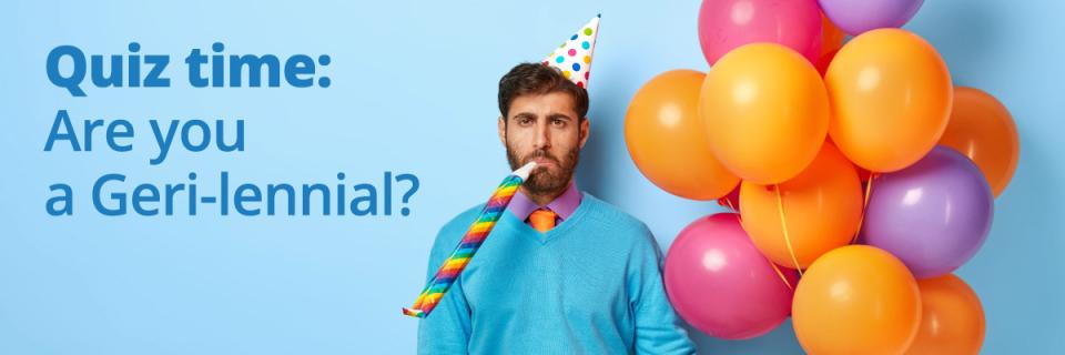 man holding balloons bored