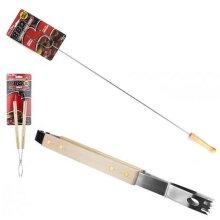 Basic BBQ Utensil Set Wooden Handles Barbeque Tools Tongs Fork 2pcs set