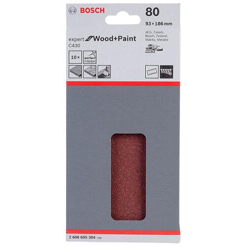 Bosch 2608605304 Sanding Sheet (10) Hook & Loop 80 Grit 93 x 186mm