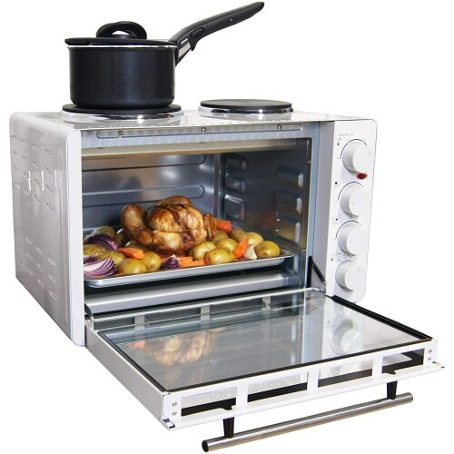Igenix IG7130 Mini Oven with Electric Grill and Double Hotplate Hob - White