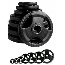 Black Rubber Coated Tri Grip Weight Plates