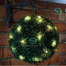 2x Topiary Ball Garden Lights Boxwood Hanging 20 Led Solar Powered