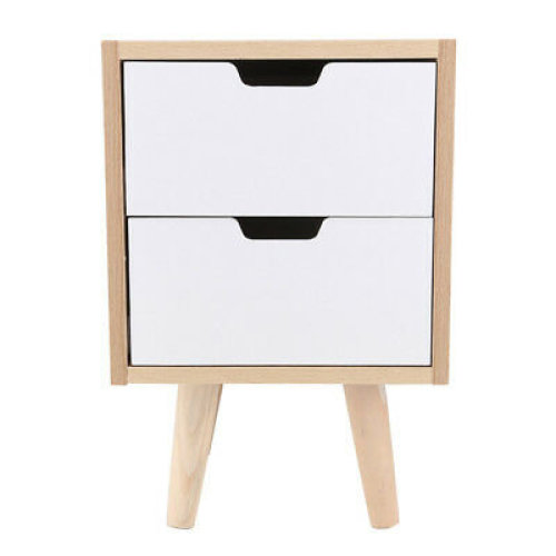 2-Drawer Scandinavian Wooden Bedside Table   Bedside Drawers